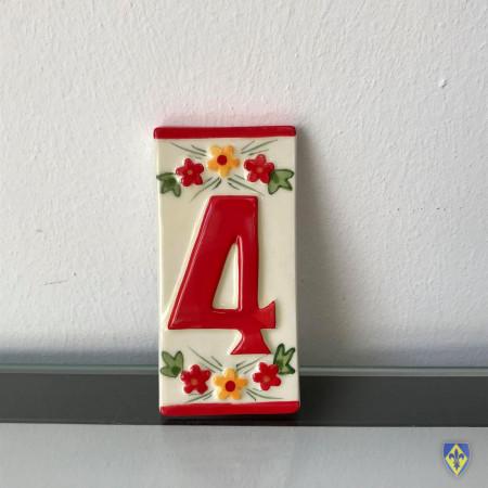 Numéro 4 de Plaque Rouge
