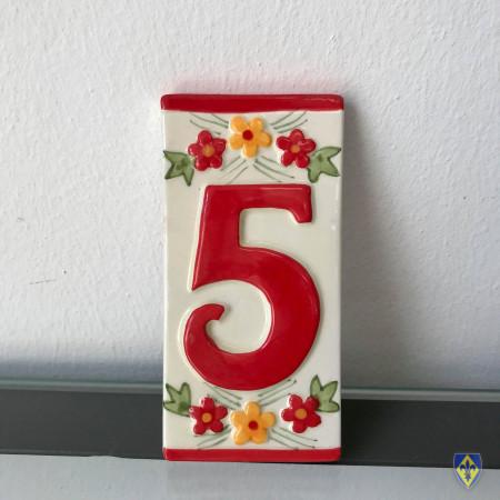 Numéro 5 de Plaque Rouge