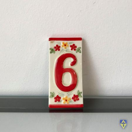 Numéro 6 de Plaque Rouge