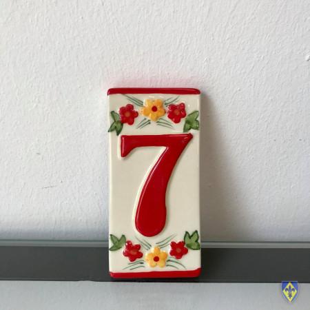 Numéro 7 de Plaque Rouge